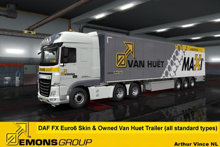 Trending mods today: EMONS Group b.v. DAF XF Euro6 skin & Van Huet owned Trailer v1.2