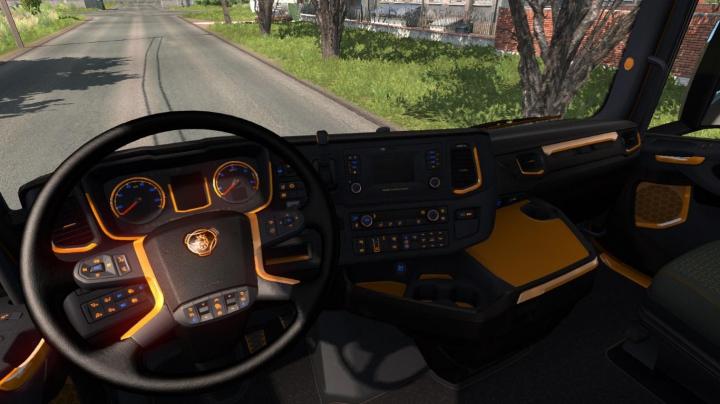 Interiors Black and Orange Interior for Scania v1.0