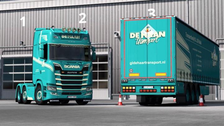 Skins De Haan combo for vanilla curtainsider trailer v1.0