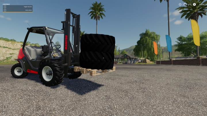 Trending mods today: FS19 monster truck wheels on pallet