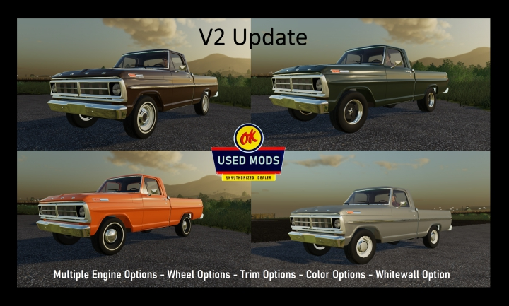 Trending mods today: 1971 Ford F100 Short Bed Truck V2 Update - By OKUSEDMODS